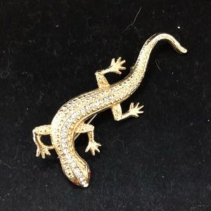 Jewelry - Vintage Goldtone Lizard Brooch